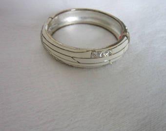 High Fashion Hinged Bangle Bracelet Retro White & Silver Tone with Rhinestones