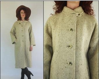 FLASH SALE Vintage 60s Wool Oatmeal Preppy Boho Mod Cream Swing Jacket Coat S M
