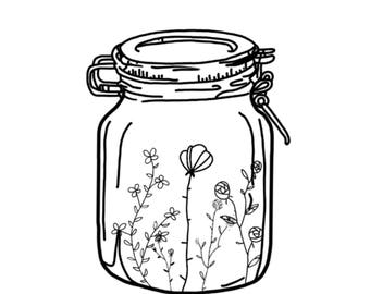 Flowers in a mason jar print