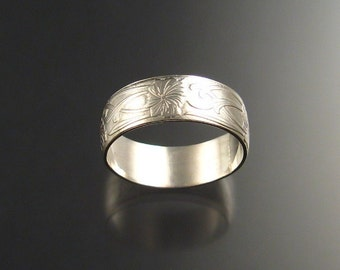 Wide Sterling Pattern Band Ring made to order in your size