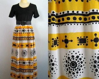 Mid Century Boho Mod Maxi Dress // 1960s 1970s Black Yellow White