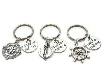 3 Best Friends Keychains, No Matter Where Keychains, Compass, Anchor, Rudder Keychains, Sisters Keychains,Mother Daughter Keychains