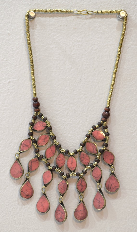 """Necklace Middle East Pink Stone Tribal Necklace 24"""""""