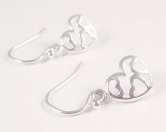 sterling silver heart earrings, sterling silver love earrings, heart Earrings, gift for girlfriend, gift for wife, gift for mum,
