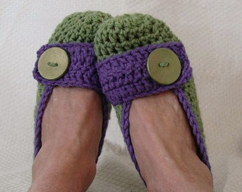 Crochet Slippers Womens Flats Olive Purple