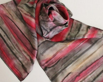 Hand Painted Silk Scarf - Handpainted Scarves Red Black Gray Grey Charcoal Cherry Apple Ruby Tan Cream