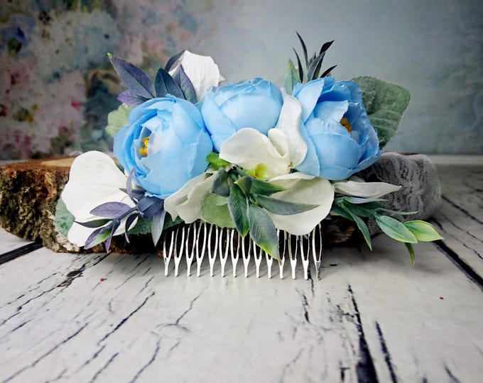 Pastel blue white greenery cold green rustic HAIR COMB silk flowers peony ranunculus hydrangea dusty miller hair piece bridal accessory