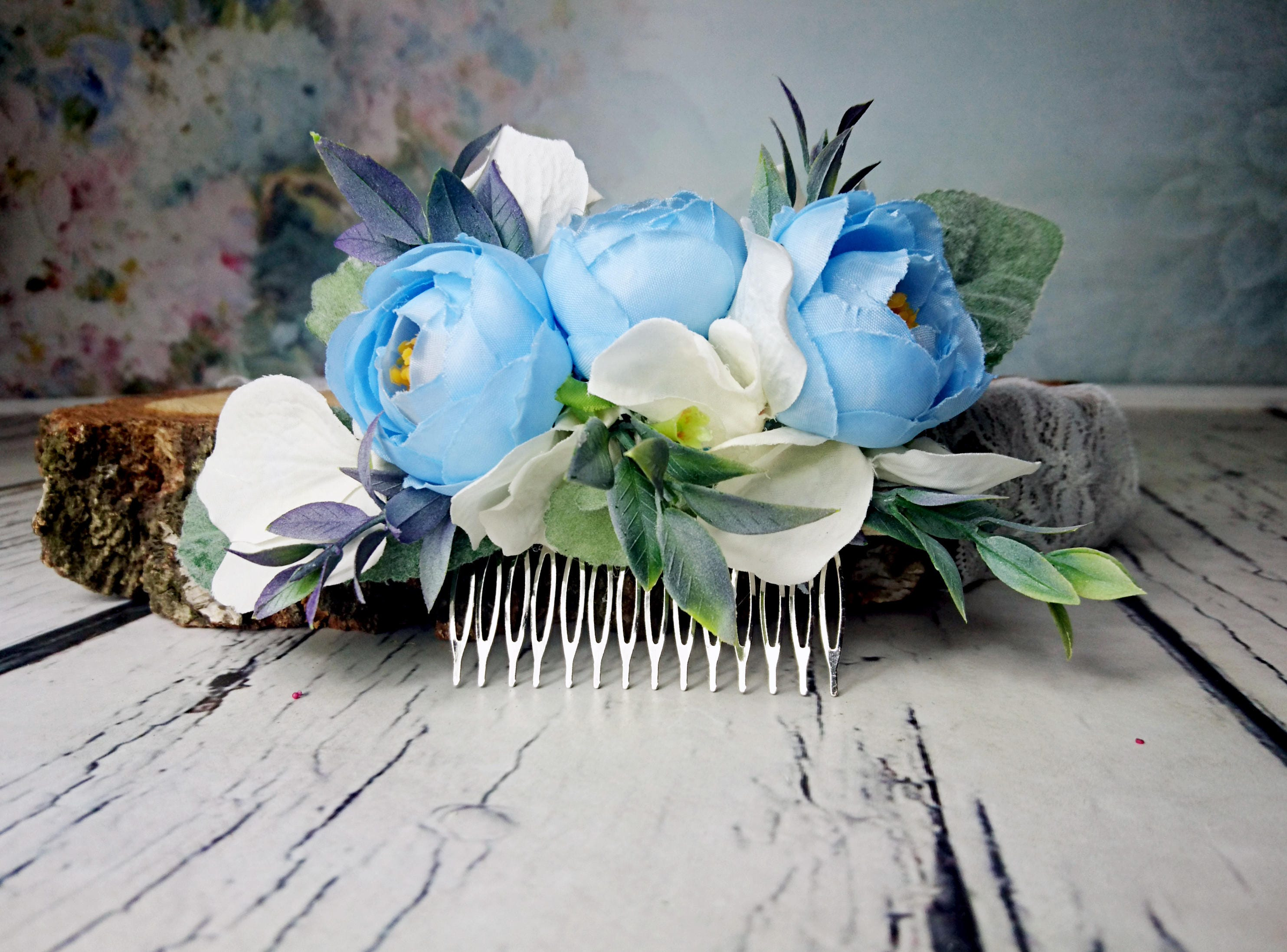 Pastel blue white greenery cold green rustic hair comb silk flowers pastel blue white greenery cold green rustic hair comb silk flowers peony ranunculus hydrangea dusty miller hair piece bridal accessory izmirmasajfo Gallery