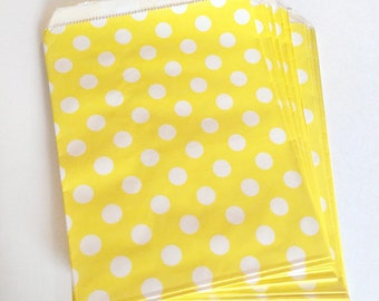 paper bags - treat bag - wedding favor bags - flat paper bag - gift bags - kraft paper bags - polka dot bags - set of 12 bags - yellow