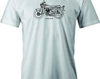 Vintage Honda CB 350 Motorcycle Drawing print on T shirt.  Free Shipping