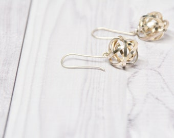 eco-friendly dangle earrings with sterling silver spheres