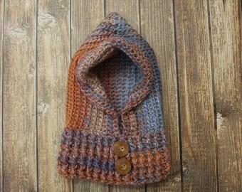 Crochet Hooded Hat- Hooded Cowl- Snoodie- Girl Hood Hat- Women's Hood Hat- Crochet Hoodie