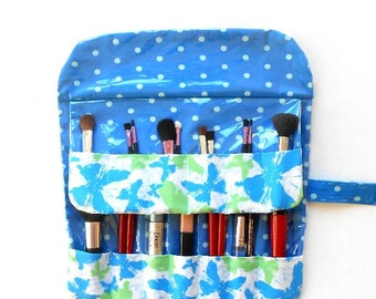 Travel Makeup Brush Holder, Makeup Organizer, Fabric Brush Carrier, Cosmetic Brush Roll Up, Blue Green Butterflies Travel Case for Brushes