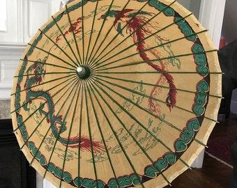 RARE 1950's Rice Paper Bamboo Dragon Umbrella Parasol Japan Chinese