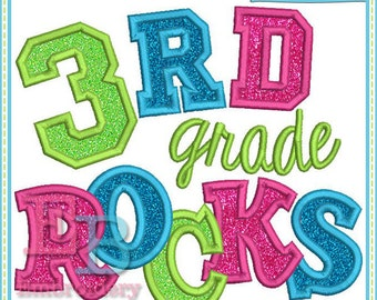 Third Grade Rocks Applique - This design is to be used on an embroidery machine. Instant Download