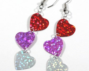 Valentine Heart Earrings Red Pink White Hologram Dangles Valentine's Day Earrings Plastic Sequins