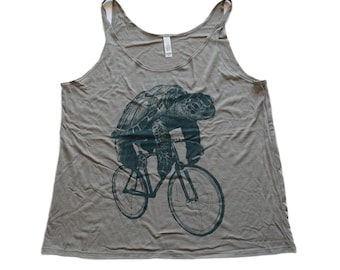 Sea Turtle on a Bicycle - Womens Slouchy Tank, Ladies Tank, Tri Blend Tank, Handmade graphic tank top, sizes S-XXL
