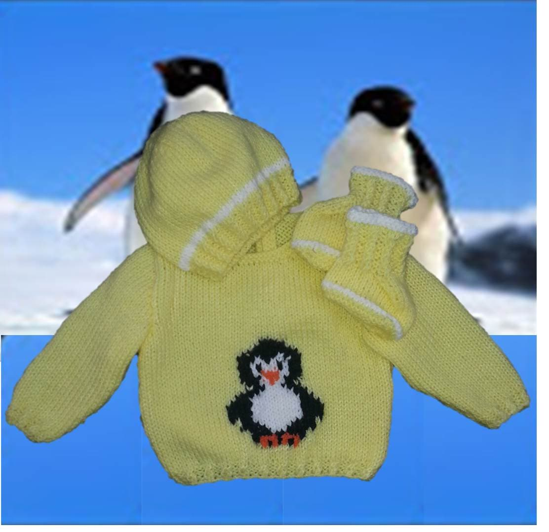 Knitting Pattern, Baby knitted Outfit, Penguin Sweater, Baby ...