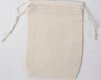 Made in the USA Mini Muslin Double Drawstring Bags