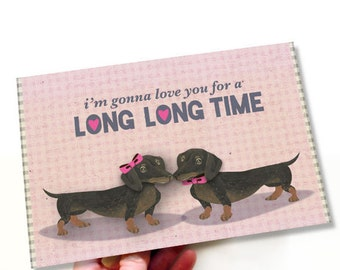 Printable Anniversary Card Cute Dachshund Dogs In Love Romantic Card Pink, Brown, Hearts