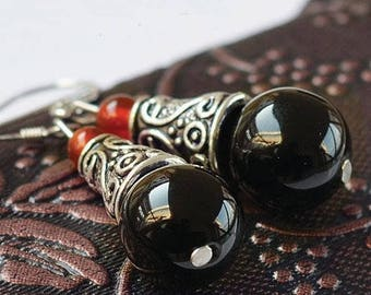 Earrings ethnic 925 Silver hook and black agate