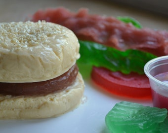 Build Your Own BBQ Burger Vegan Fun Food Soap - Barbecue - Fathers Day Soap - Fake Food - Food Soap - Dad - Father's Day - Foodie