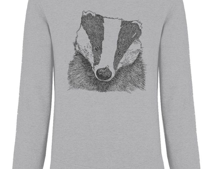 Badger Print Organic Cotton Unisex Raglan Sweatshirt. Heather Grey.