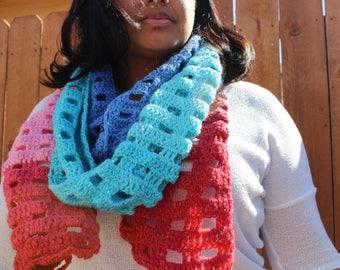 Color block crochet Scarf