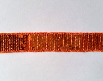 Stripe glitter orange 22mm