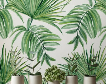 Exotic Leaves Hand Drawn Pattern Removable Wallpaper, Exotic Wallpaper, Green Leaves Temporary Wallpaper, 272