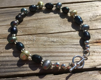 Freshwater Pearl Bracelet Bar and Toggle Clasp