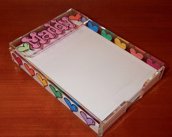 Personalized and Hand Painted Acrylic Note Pad Holder
