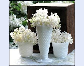 Vintage Hobnail Milk Glass Collection - Cottage Chic Trio