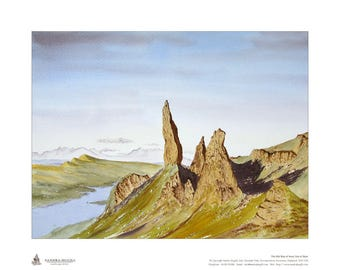 Limited edition giclee print, of my watercolour painting of The Old Man of Storr, Isle of Skye, Scottish Highlands, Size is 400mm x 500mm