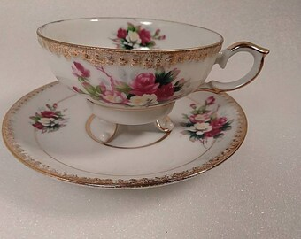 Vintage UCAGCO Ceramics Footed Tea Cup and Saucer Set RARE