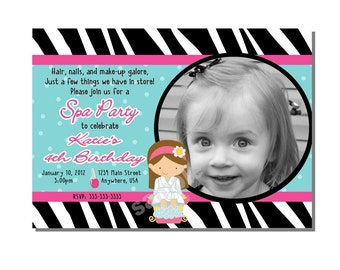 Spa Party Invitation Birthday - DIGITAL or PRINTED