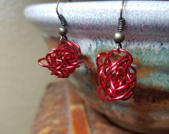 Red Wrapped Wire Earrings