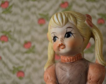 Figurine little blonde girl with big eyes / Bisque porcelain / 60s, 70s / France