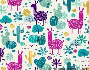 Pre-order Llama Kitchen Tea towel desert animal cactus, linen cotton / theedoek - design by Heleen van den Thillart