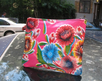 "Hot Pink Mexican Floral Oil Cloth Cosmetic Case, 6"" Oil Cloth Coin Case, Accessory Pouch"