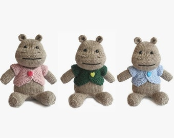 Knitted toy hippo stuffed toy hippopotamus stuff animal grey hippo gift for kids baby gift toy with blue pink green jacket