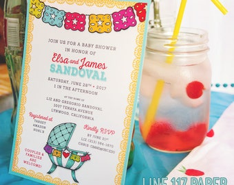 FIESTA! Gender Neutral Mexican Papel Picado Baby Shower Invitations or Birth Announcements