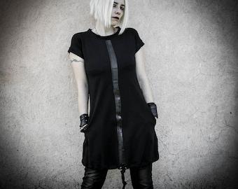 MALEKEN - Black Cotton Dress with pockets, Short sleeves Cyberpunk Tunic Dress, Grunge Industrial Avantgarde Futuristic Alternative clothing