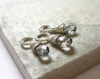 xS - TINY Sterling Silver Charms - Black Tourmalinated Quartz Pendant - Natural Black Tourmaline - Clear Quartz Charms - Healing Crystals