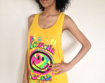 Vtg 90's Grunge Hippie SMILEY FACE yellow neon Peace Sign racerback dress top S/M/L