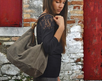Handmade, medium sized, hobo ,canvas bag, Maris in ashes grey