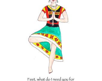 Frida Kahlo card, Frida Kahlo note card, Frida Kahlo yoga greeting card, Frida Kahlo quote, Frida Kahlo tree pose, yoga lover, blank card