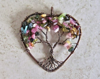 Tourmaline Stone Tree of Life Copper Wire Heart Pendant Natural Gemstone Yoga Meditation Handmade Rock Gift Energy Reiki Necklace Love Charm
