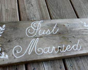 Just Married - Barn wood wedding decor or photo prop