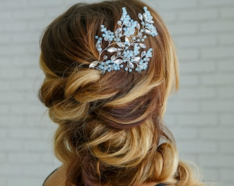 Something blue for bride Hair accessories Bridal headpiece Wedding hair piece Forget me not jewelry Hair vine Wedding accessories bride